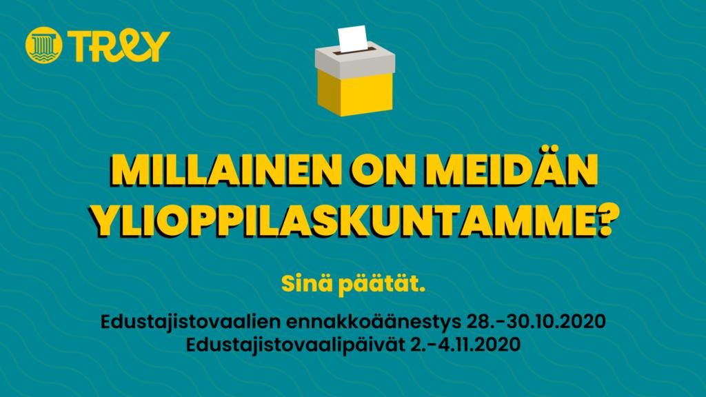 Edustajistovaalien mainos, jossa kerrotaan ennakkoäänestyspäivät 28.-30.10. ja vaalipäivät 2.-4.11.