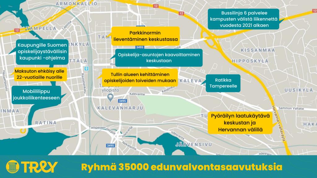 Ryhmä 35000 edunvalvontasaavutuksia Tampereen kartalla. Saavutukset on kirjoitettu alle tekstinä.