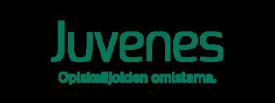 Juveneksen logo. Slogan Opiskelijoiden omistama