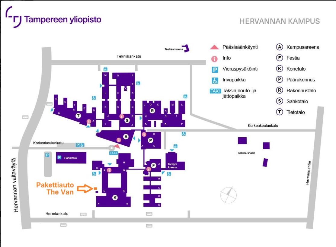 Hervannan kampuksen kartta