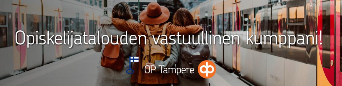 OP Tampereen logo ja teksti opiskelijatalouden vastuullinen kumppani