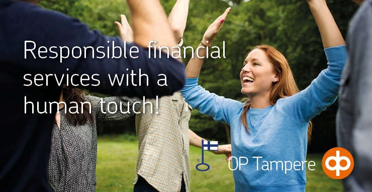 The logo of OP-Tampere with the text responsible financial services with a human touch