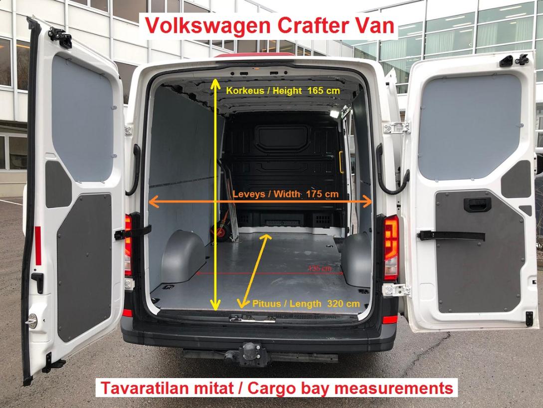Pakettiautojen mitat (korkeus 165 cm, leveys 175 cm ja pituus 320 cm).