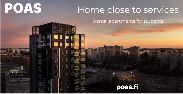 The logo of POAS, with the text rental apartments for students, home close to services